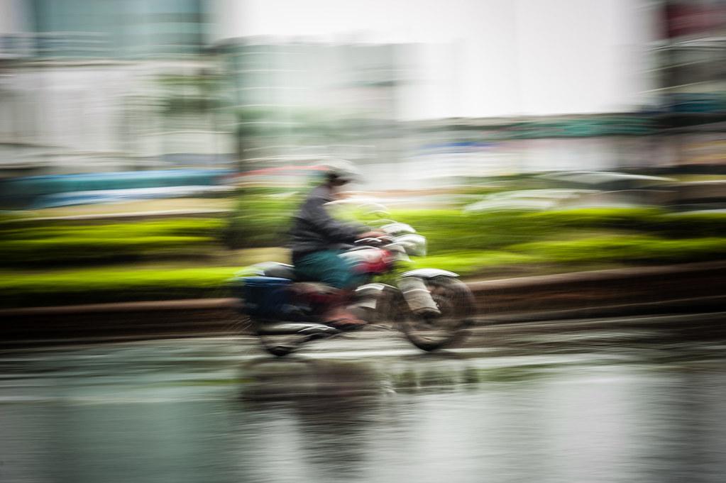 Motorbike Panning in the Rain