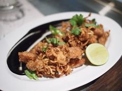Salt and pepper baby squid, black ink aioli. Esquina Tapas Bar, Jiak Chuan, Keong Saik, Tanjong Pagar