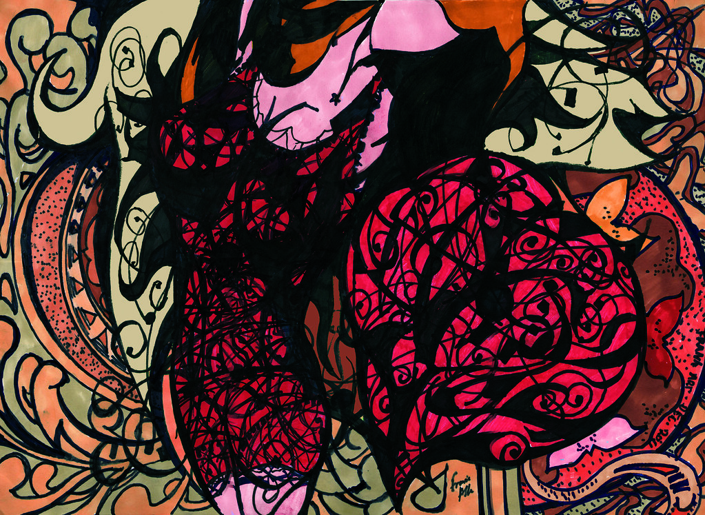 Abstract Mucha Art Deco Spider Girl Doodle