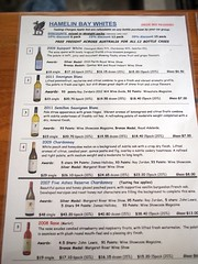 Hamelin Bay Cellar Door Tasting WIne List and Prices