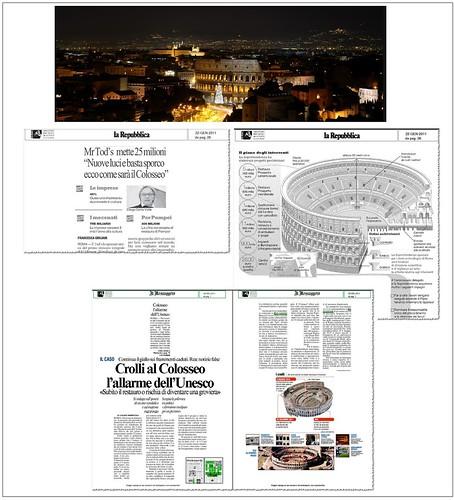 """MR. TOD'S COLOSSEUM: """"MADE IN ITALY"""" & """"RUINED IN ITALY"""" (2011). La Repubblica (22/01/2011) & Il Messaggero (28/12/2011). by Martin G. Conde"""