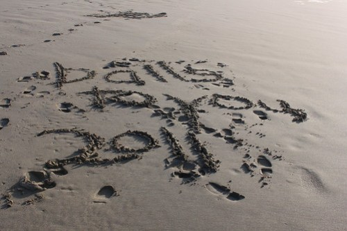 Balls To You, 2011 written in the sand