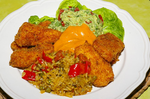 Spicy chicken goujons with rice and guacamole by La belle dame sans souci