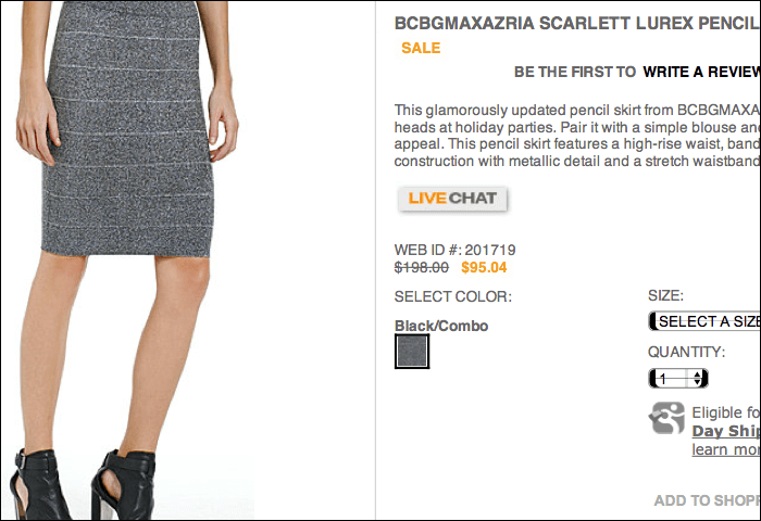 On the product page, the Scarlett Lurex Pencil Skirt was marked $95.04