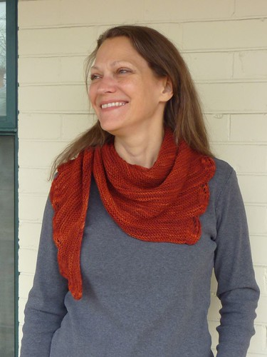 Triangle Scarf with Leaf Border