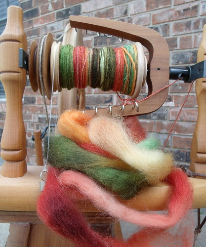 Beginning to Spin Wool from Dye Experiment