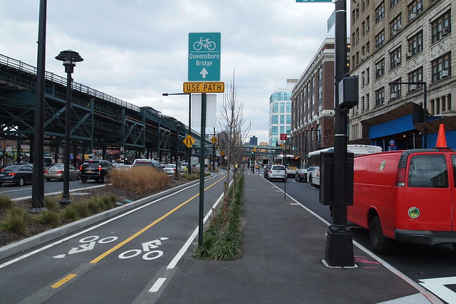 New bicycle path leading to the Queensboro Bridge