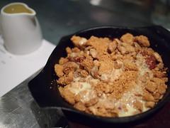 Sangria poached fruits, salted almond crumble, PX custard. Esquina Tapas Bar, Jiak Chuan, Keong Saik, Tanjong Pagar