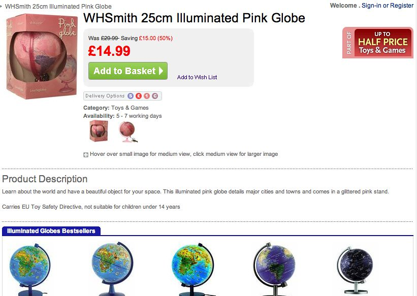 Screenshot of pink globe on WHSmith site
