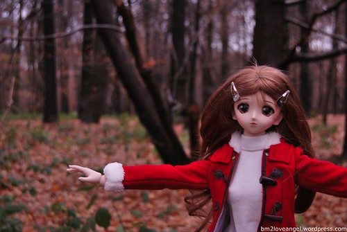 Yukino playing in the forest