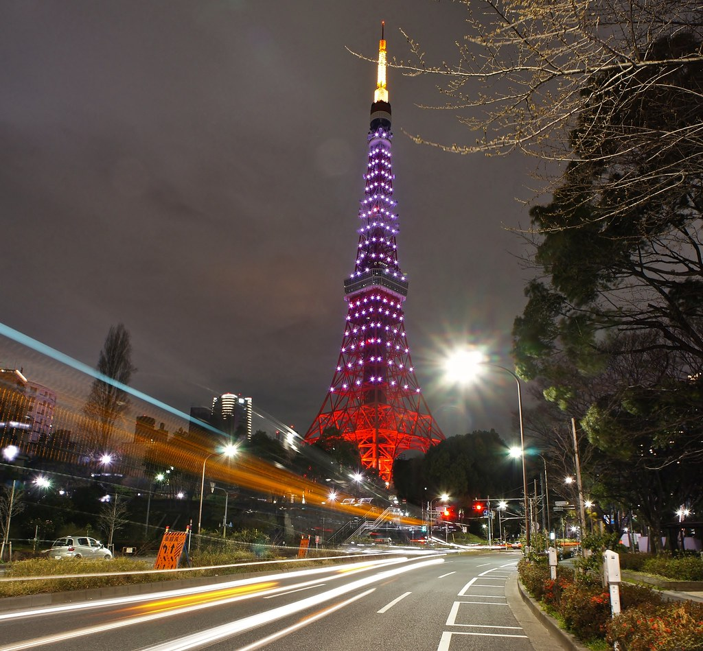 Tokyo Tower and traffic trails