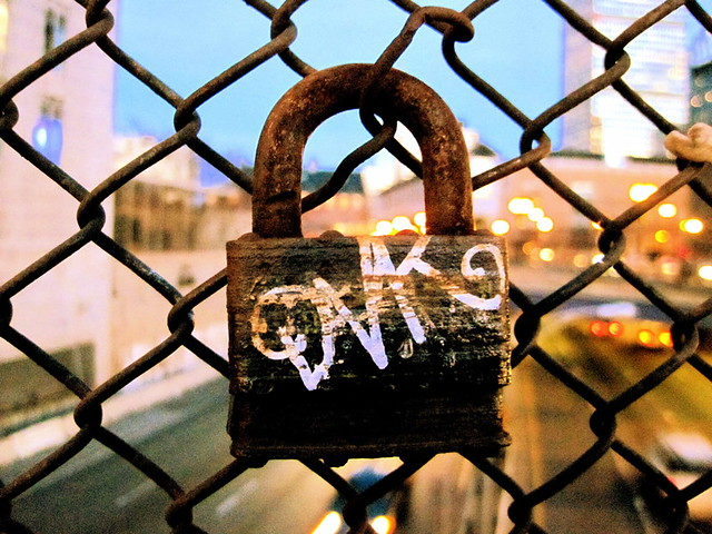boston prudential center lock on fence
