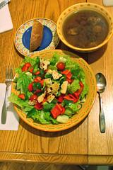 Meatball Soup, Salad, Bread