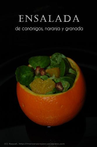 Ensalada de canónigos, naranja y granada.