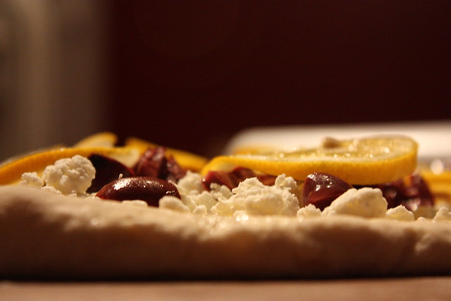 meyer lemon and goat cheese pizza