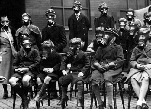 Manchester City Police, School gas mask drill, 1938