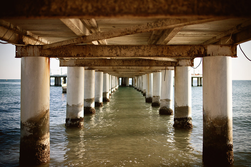 underneath the pier