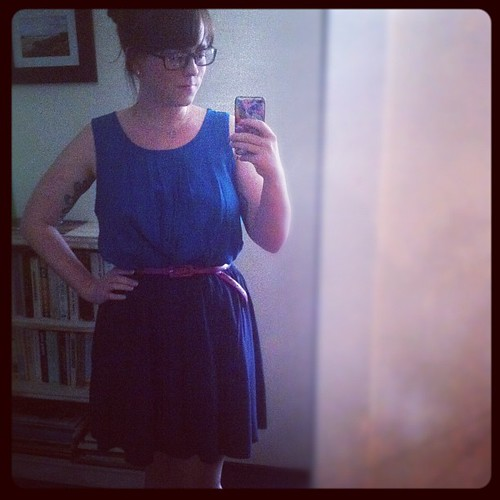 A blue on blue dress with a fuchsia belt #dressember day 18