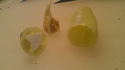 hollowed out yellow pepper