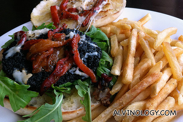 Marinated Portobello and Halloumi Burger with Onions, Rocket and Fries
