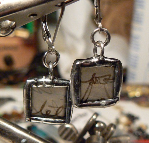 Encaustic Paper Soldered Earrings