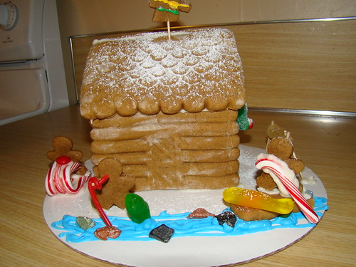 This year, our gingerbread house is an Alaskan fishing cabin.