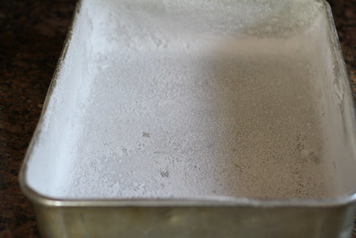 powdered sugar-ed baking pan