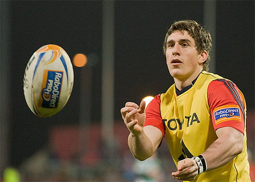 Ian Keatley prepares to come on
