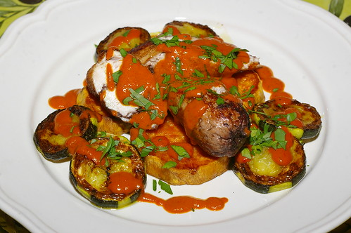 Chicken ballotine with courgettes and sweet potato by La belle dame sans souci