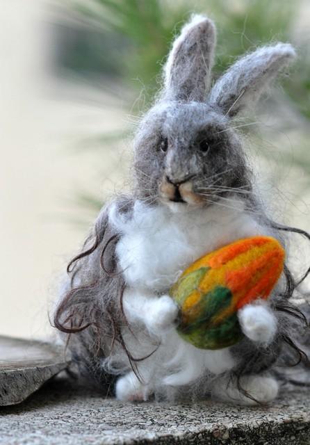 Needle felted Angora Rabbit 3/ Basket bunny