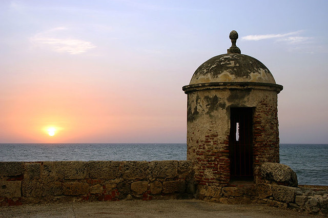 Sunset in Cartagena, Colombia. By Flickr user Igvir, via Wikimedia.
