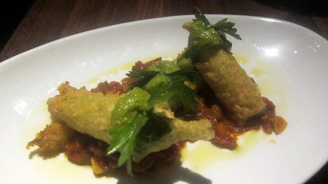 fried squash blossoms with cheese at mb post