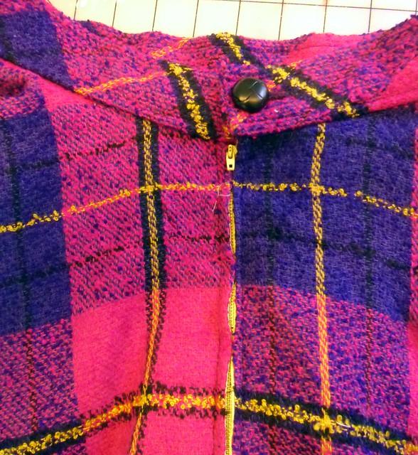 plaid circle skirt - button