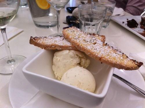 Vanilla bean icecream with biscotti at Table 78