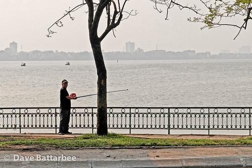 Vietnamese man fishing