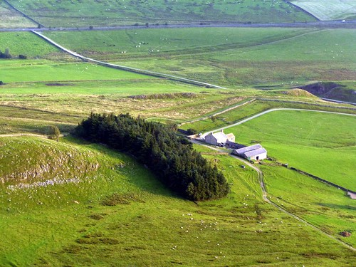 Milecastle 38 and Hotbank Crags from the air