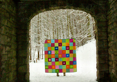stained glass quilt in the castle