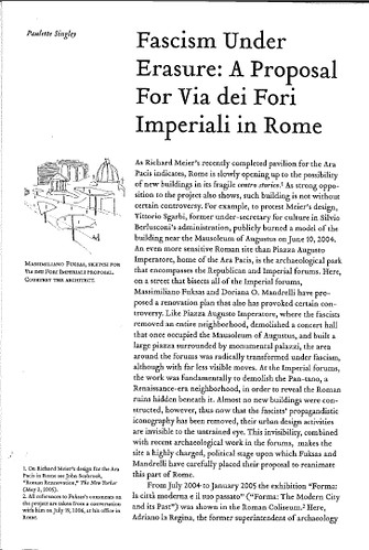"[ROMA - I FORI IMPERIALI] - Prof. Paulette Singley, ""Fascism Under Erasure - A Proposal for Via dei Fori Imperiali,"" LOG No. 8, (2006), pp. 143-151 [PDF pp. 1-6]. by Martin G. Conde"