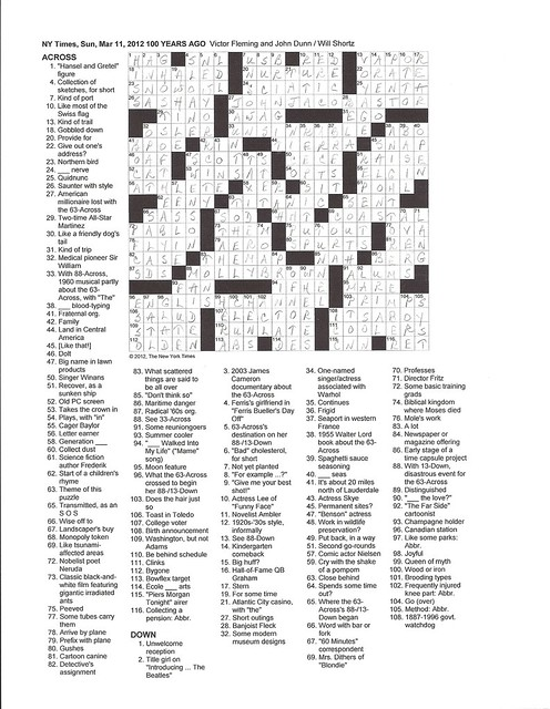 NYT Sunday Puzzle - March 11, 2012
