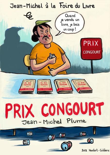 Jean-Mi à la foire du livre (illustration : Gilderic)