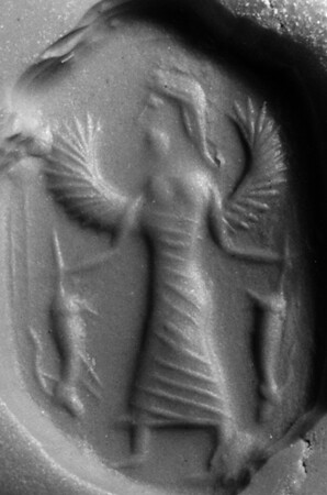 Potnia Theron holding two goats, possibly Greek, gem bought in Aleppo, now in the Musée du Louvre, Paris