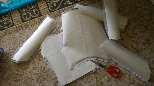 Cutting the fabrics for the costume.