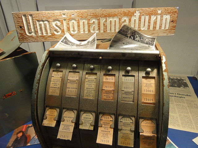 An antique swimming pool ticketing machine