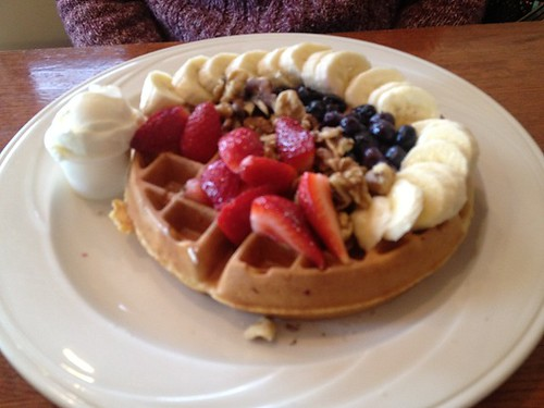Banana Nut Waffles with berries