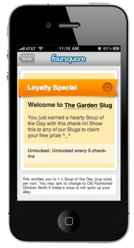 Foursquare Loyalty Special: free Soup of the Day every third check-in