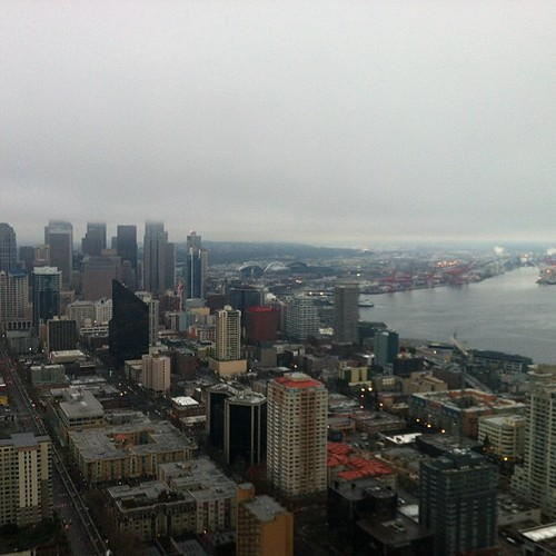 Foggy Seattle sky view
