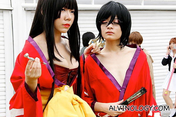 Chest baring cosplay characters