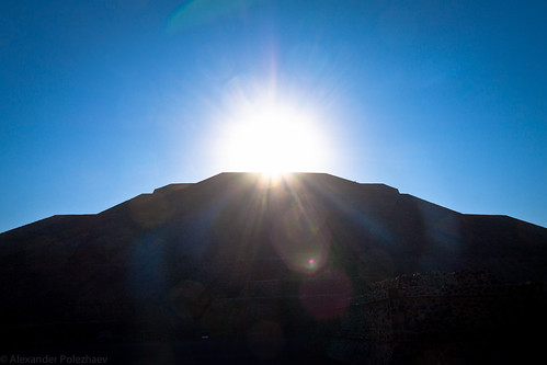 Sun rises above the Pyramid of the Sun