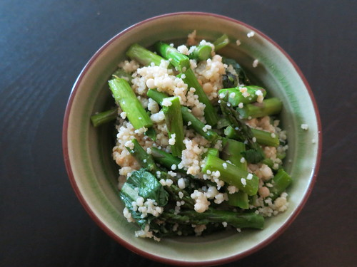 Roasted asparagus, gai lan and double couscous salad