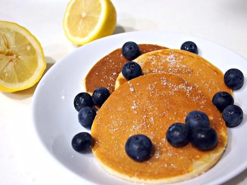 Pancake Day Pancakes with sugar, lemon and blueberries